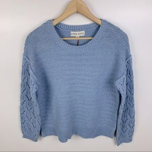 Knox Rose Blue Knit Sweater Pointelle Sleeve Small